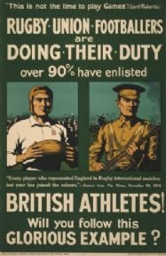 Vintage WW1 poster. Rugby union footballers are doing their duty. Over 90% have enlisted. British athletes! Will you follow this glorious example?